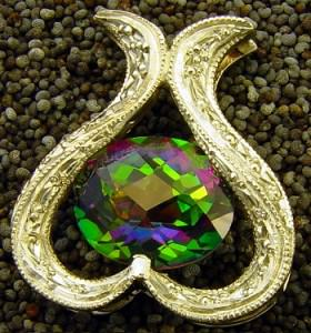 mystic topaz pendant, gemstone treatments, gemstone coating